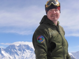 Nigel Lewis on summit of Mera Peak, Nepal.