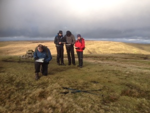Gordon A prepares to set the route whilst the others are going to track him. Mountain Experience NNAS course.