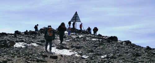 Approaching the summit of Toubkal, Moroccan High Atlas.