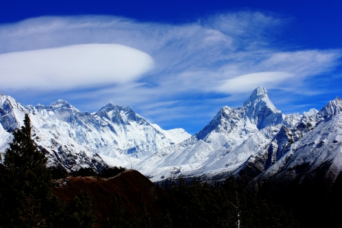 Everest view and Ama Dablam. The path in the foreground leads to The Everest View Hotel.