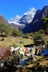 The view up the Thesebu Khola valley to Khumbi Yul Lha, 5,761 metres.