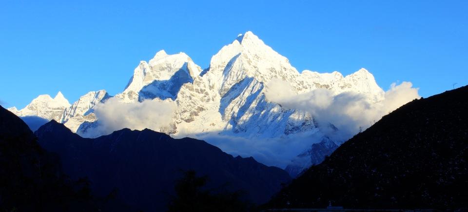 Thamserku, 6,608 metres with Kantega, 6,685 to it's left.