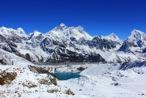 Looking over Gokyo Lake with Everest behind it.