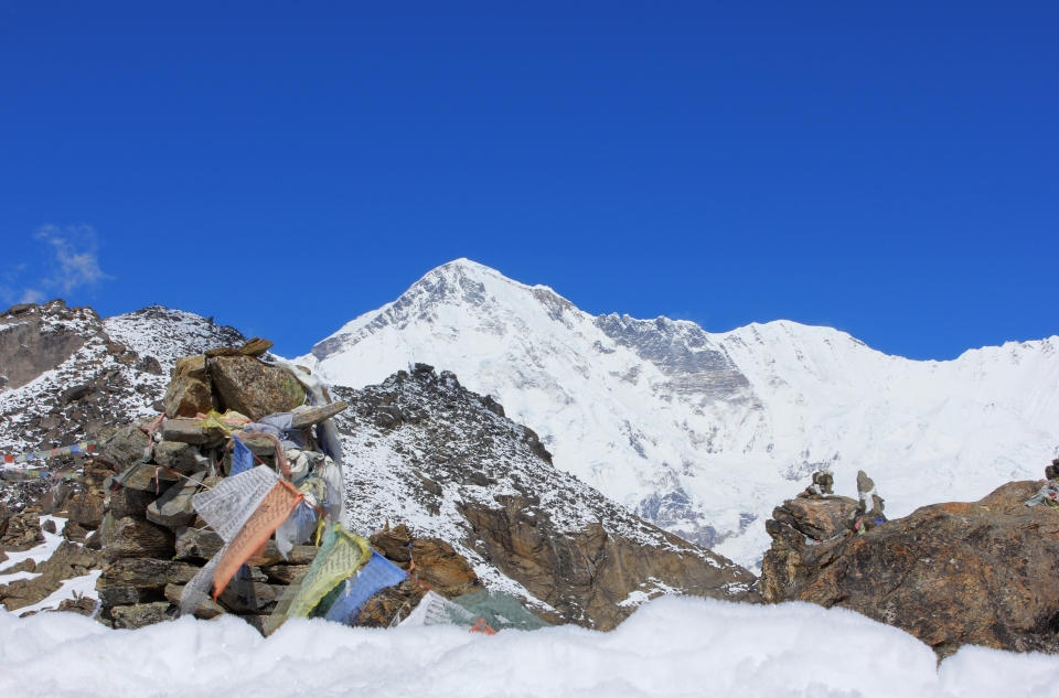 The summit of Cho Oyu as seen from Gokyo Ri. Cho Oyu is the sixth highest peak in the world at 8,201 metres.