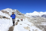 Richard crossing the glacier with Cho Oyu on the horizon.