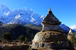 Stupas, Mani stones, chortens and carved boulders dominated the path in every direction.