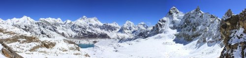 The view to Gokyo from the Renjo La.  Everest is the high peak on the left above the lake.