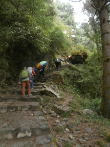 A wet day on the road to Namche Bazaar