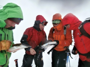 students in Norway getting to grips with navigation in snow covered terrain