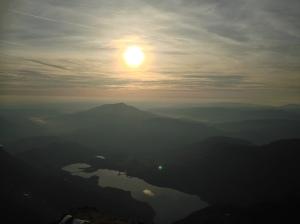 Sunrise over llyn llydaw from Snowdon summit