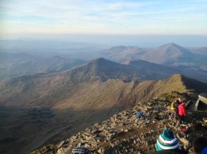 View to Yr Aran  from  Snowdon summit.