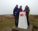 John, Gareth and Penny on Fan Frynych, with the best visibility of the weekend.