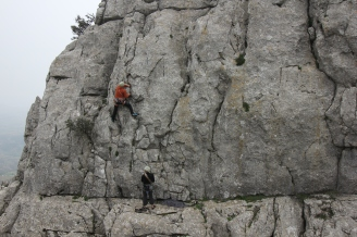 Nigel Lewis climbing with Steve K at El Torcal
