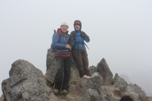 Leader Team members, Nigel Lewis and Sophie M on the summit of Imbabura, 4,630 metres.